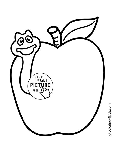 coloring book apple pencil apple with worm fruits coloring pages simple for