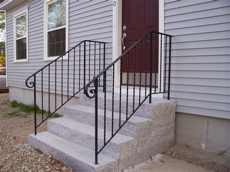 metal porch railing wrought iron railings simple ribbon style wrought iron