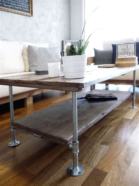 wood and pipe table diy coffee table with wood and galvanized steel pipes