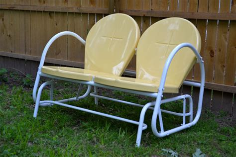 retro lawn chairs lowes new outdoor furniture yellow retro glider