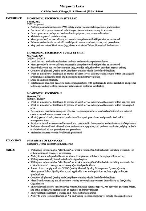 Sle Resume Biomedical Equipment Technician biomedical repair sle resume sound effects editor cover