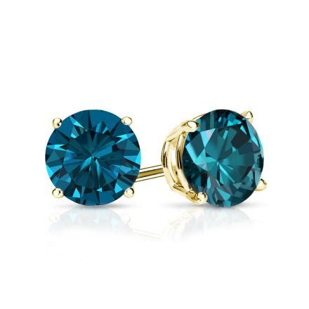 1 4 ct blue diamond stud earrings 14k white gold amazon certified 14k yellow gold 4 prong basket round blue