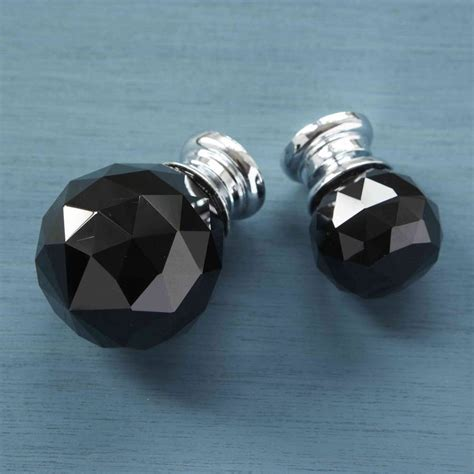 Glass Wardrobe Door Knobs Black Faceted Glass Cupboard Door Knobs By Pushka Home Notonthehighstreet