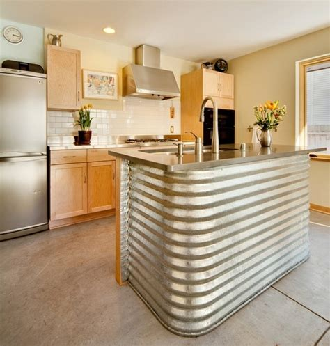 kitchen island metal corrugated metal in the home