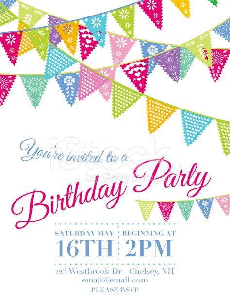birthday invitation greeting card templates vector papel picado birthday invitation template stock