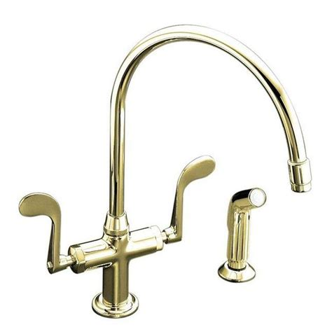 Kohler Brass Kitchen Faucets Kohler K 8763 Pb Essex 1 2 Handle Kitchen Faucet In Vibrant Polished Brass Oppzo