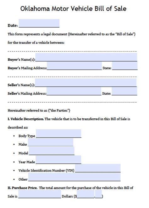Free Oklahoma Dps Motor Vehicle Bill Of Sale Form Pdf Word Doc Auto Bill Of Sale Oklahoma Template
