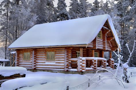 wooden russian house in winter covered with snow stock log cabins and log homes