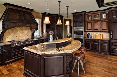 Kitchen Island With Microwave by Dark Mixed Wood Custom Cabinets Traditional Kitchen