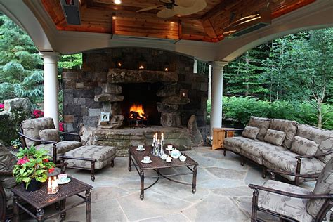 Covered Fireplace by Covered Pits Sloped Landscaping Pit Ideas