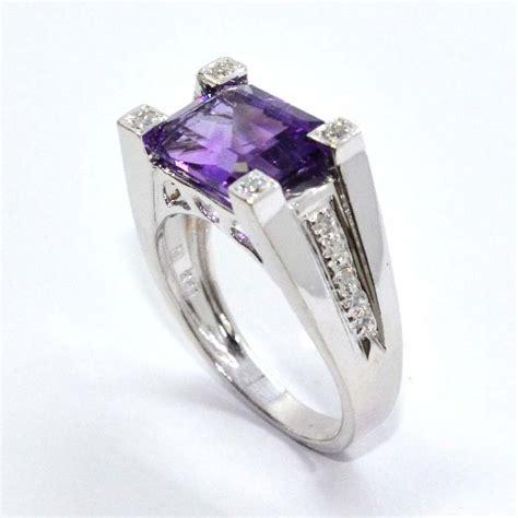 emerald cut amethyst ring diamonds by janet