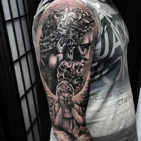 guardian angel tattoo upper arm 100 guardian angel tattoos for men spiritual ink designs