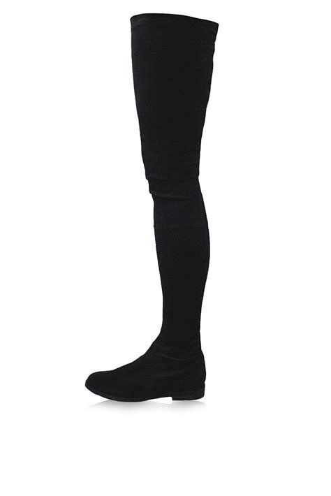 black thigh high suede boots topshop vesper thigh high stretch suede boots by kurt