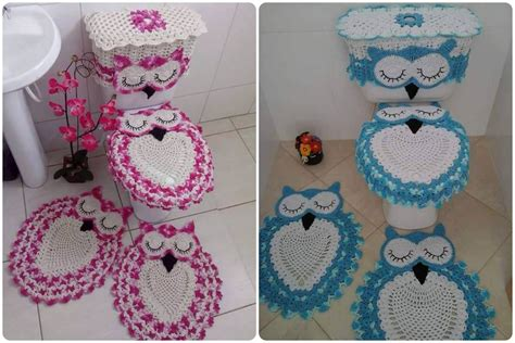 owl bathroom sets crochet owl bathroom set with free pattern