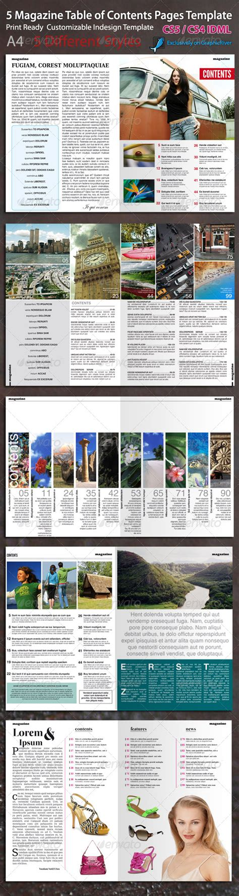 table of contents magazine template magazine table of contents page template graphicriver