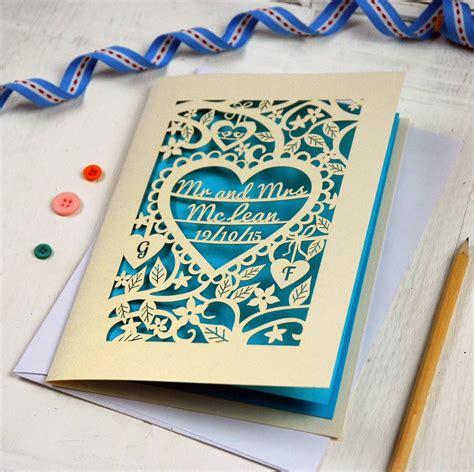 personalised wedding cards free personalised papercut wedding card by pogofandango