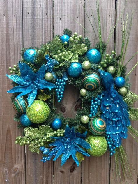 lime green and teal peacock christmas wreath