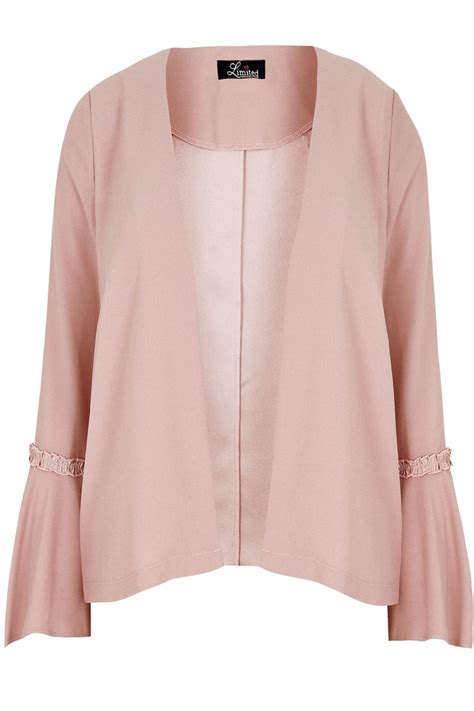 light pink plus size blazer limited collection pink crop jacket with flute sleeves