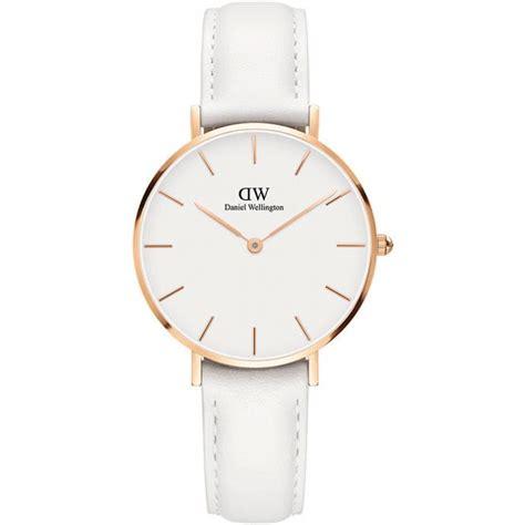 montre daniel wellington dw00100189 montre cuir blanc acier or femme sur bijourama
