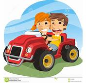 Little Boy And Girl Driving A Toy Car Stock Photo  Image
