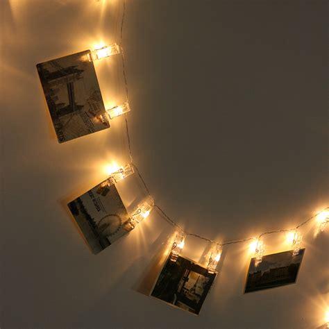 hanging led string lights 40 led hanging picture photo peg clip fairy string lights