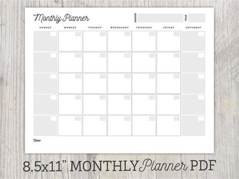 printable calendar undated monthly planner printable undated calendar