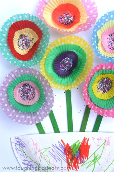 Paper Flowers For Children To Make - cupcake paper flowers laughing learn