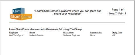 itextsharp tutorial asp net c generate pdf using itextsharp with c learn share corner