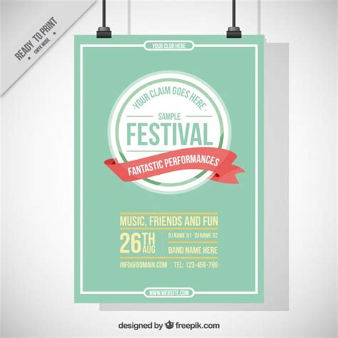 Free Vintage Poster Templates by Vintage Festival Poster Vector Free