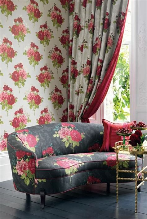 fabric  wallpaper  floral design great interior