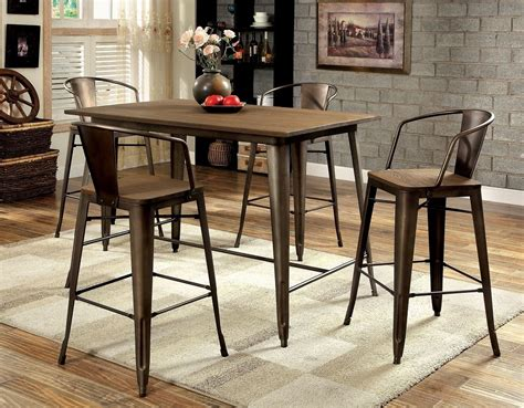 elm counter table cooper ii 5 pieces elm counter height table set