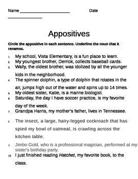 Appositive Worksheet by Appositive Worksheet By Gerald Gocken Ii Teachers Pay