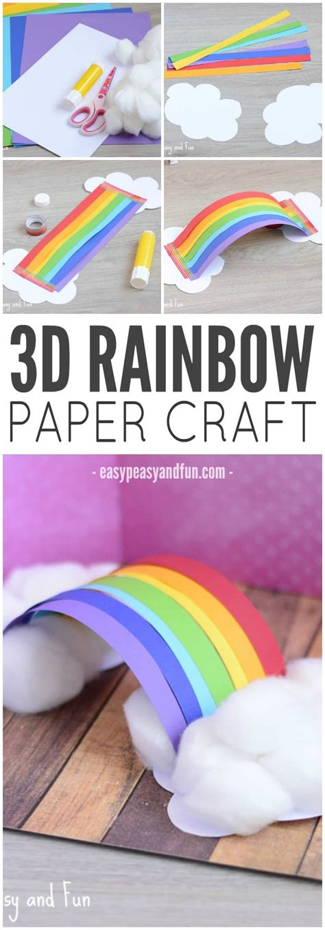 3d craft ideas for simple 3d rainbow paper craft easy peasy and