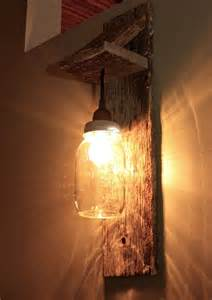 Bedside Wall Sconce Mason Jar Light Fixture Reclaimed Wood Wall Sconce
