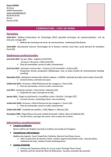 Rédiger Un Cv Exemple by Exemple Cv En Anglais Tourisme Sle Resume