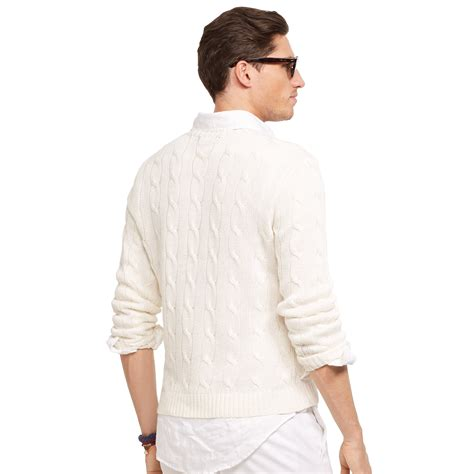 knitting pattern linen sweater lyst polo ralph lauren cable knit linen sweater in white