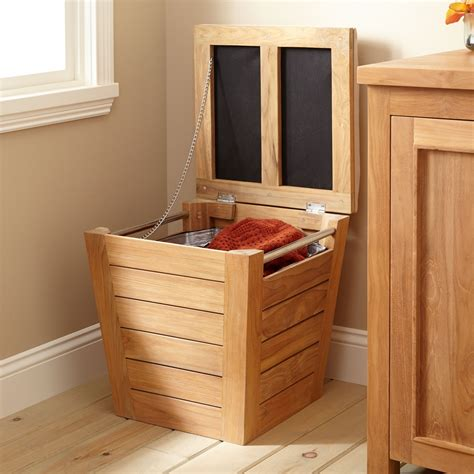 teak laundry hamper stool large bathroom