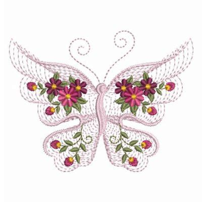 Bv4765ls Embroidery Flower And Butterfly rippled flower butterfly machine embroidery design instant