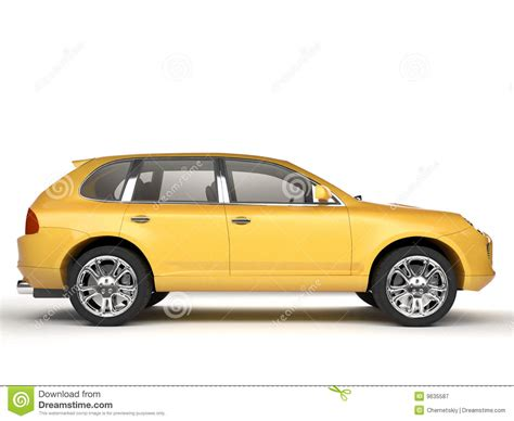 yellow side compact yellow suv side view royalty free stock