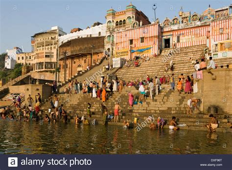The Ganges River by Hindu Ghats On The Banks Of The Holy River Ganges Ganga