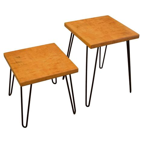 Bobby Tables by 1956 Maple Table Bobby Pin Legs P W Davis Vintage Mid