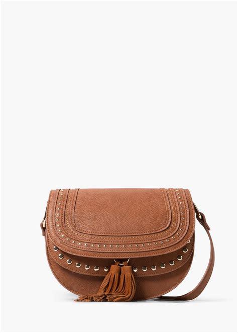 Sale The Mangos Cavellinez Brown In Black Yvs Bag Tas Murah Cewe mango stud cross bag in brown leather lyst