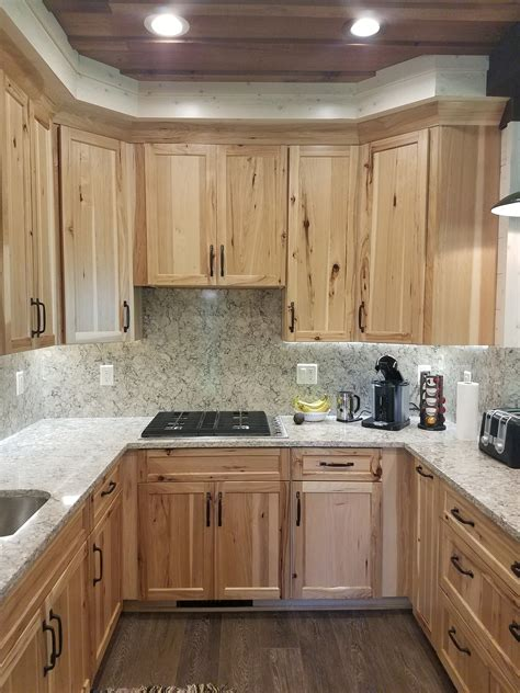 hickory cabinets with granite countertops rustic hickory cabinets with quot intermezzo quot quartz