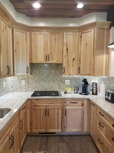 """Natural Rustic Hickory Cabinets with """"Intermezzo"""" Quartz"""