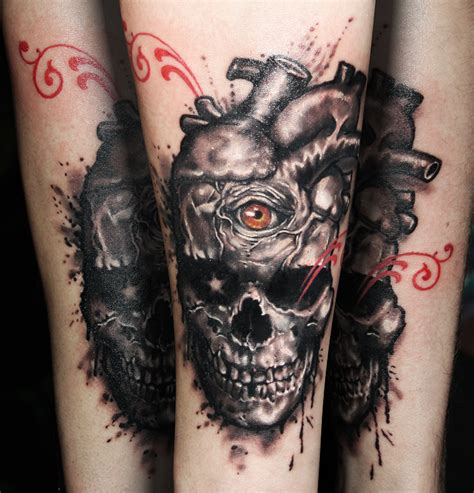 skull heart tattoo skull by tikos on deviantart