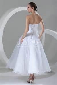 Colored Faucets Tea Length Organza White Wedding Dress 2013