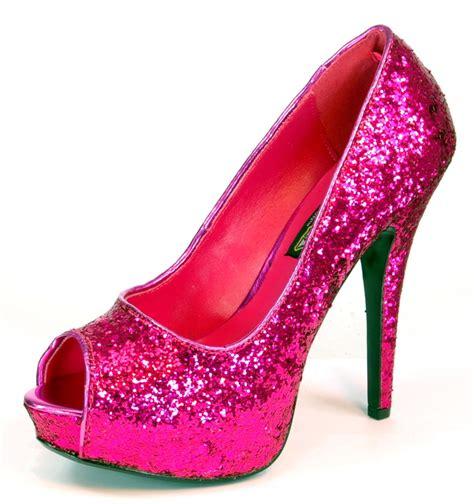 glitter pink high heels pink glitter 5 1 4 quot peep toe high heel shoes