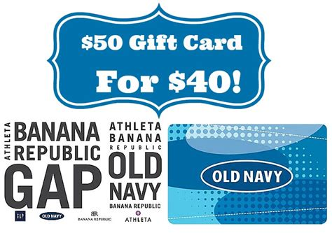 Old Navy Gift Card Discount - staples 50 gap old navy gift card for 40 more