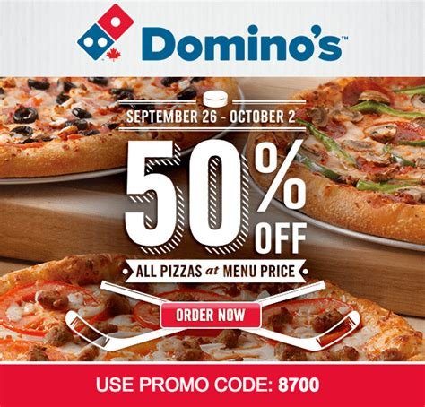 domino pizza friday offer domino s pizza canada offers save 50 off all pizza at