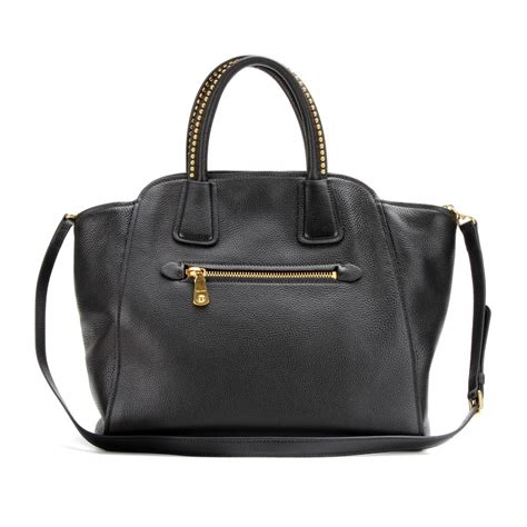 Miu Miu Leather Tote by Miu Miu Leather Tote With Studded Handles In Black Nero
